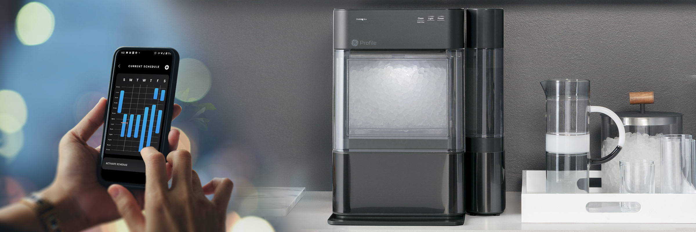 GE PROFILE? OPAL? NUGGET ICE MAKER - on counter while owner edts the ice making schedule from the smartphone app.