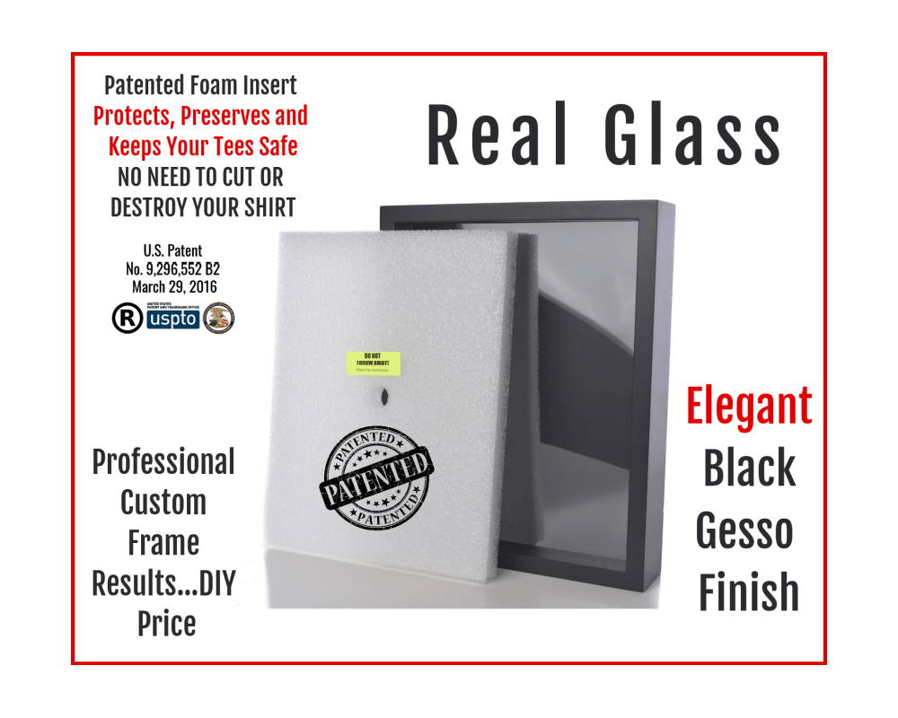 The Shart Original T-Shirt Frame has real glass, elegant black gesso finish and includes the pateneted Shart® Foam Insert.