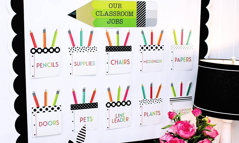 Black, White & Stylish Brights Classroom Theme