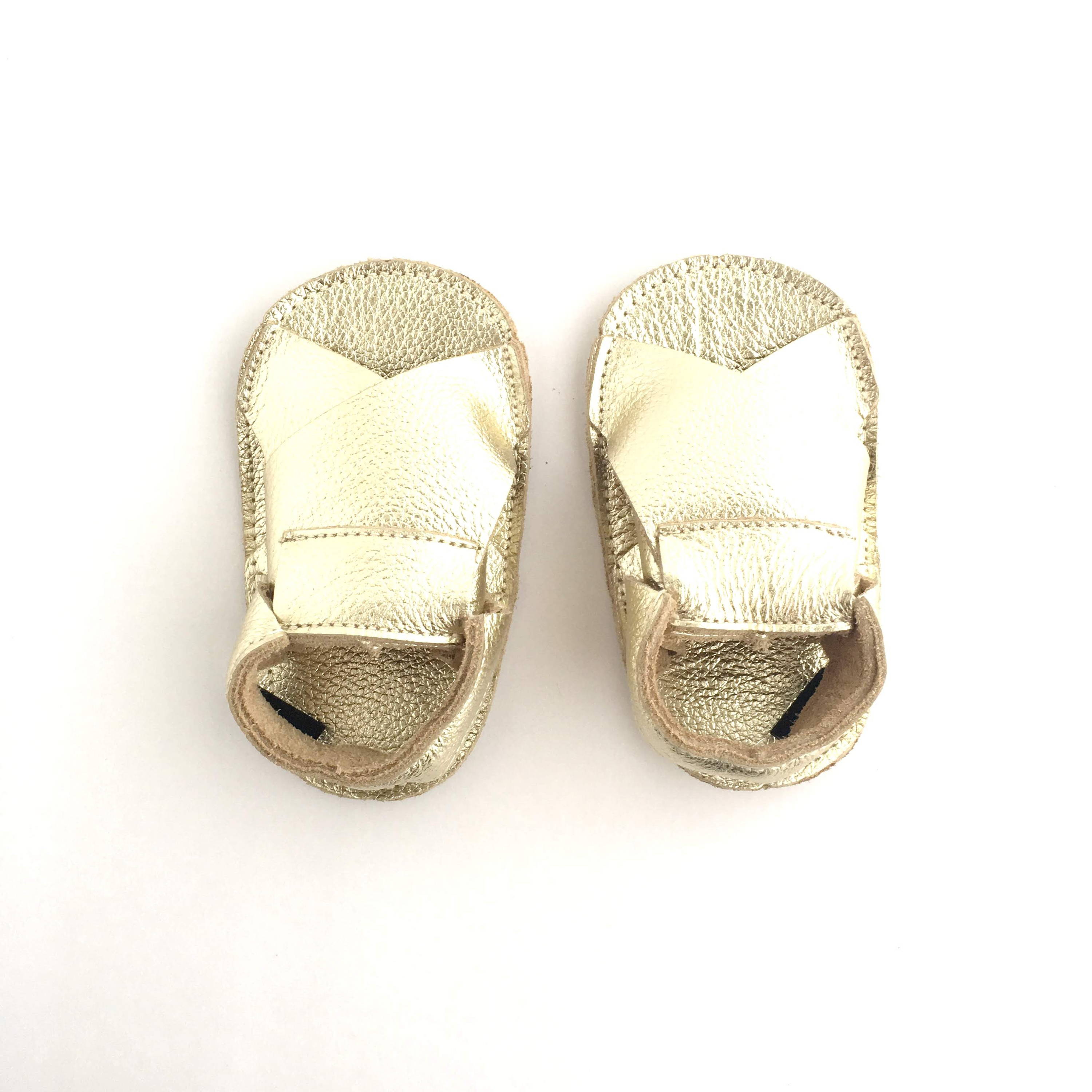 Cross Soft Sole Sandal Metallic Gold Colour View from above