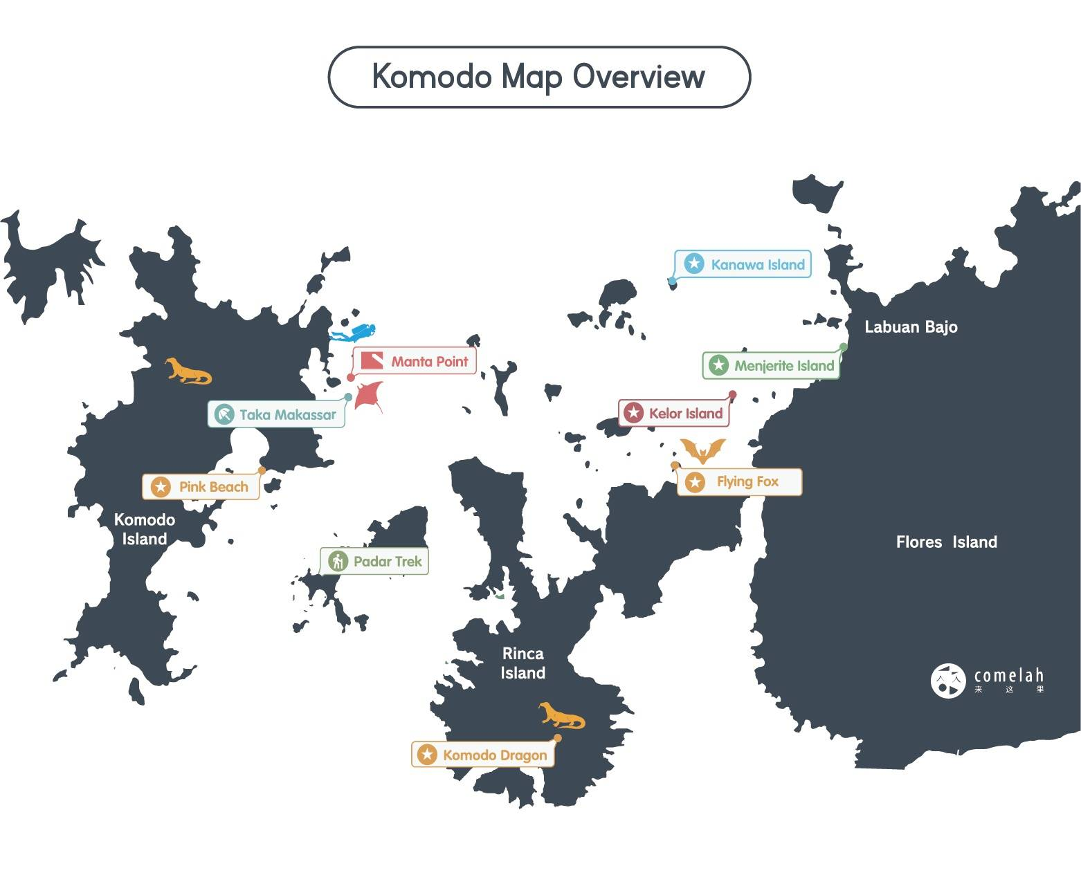Komodo Island Liveaboard Map Overview