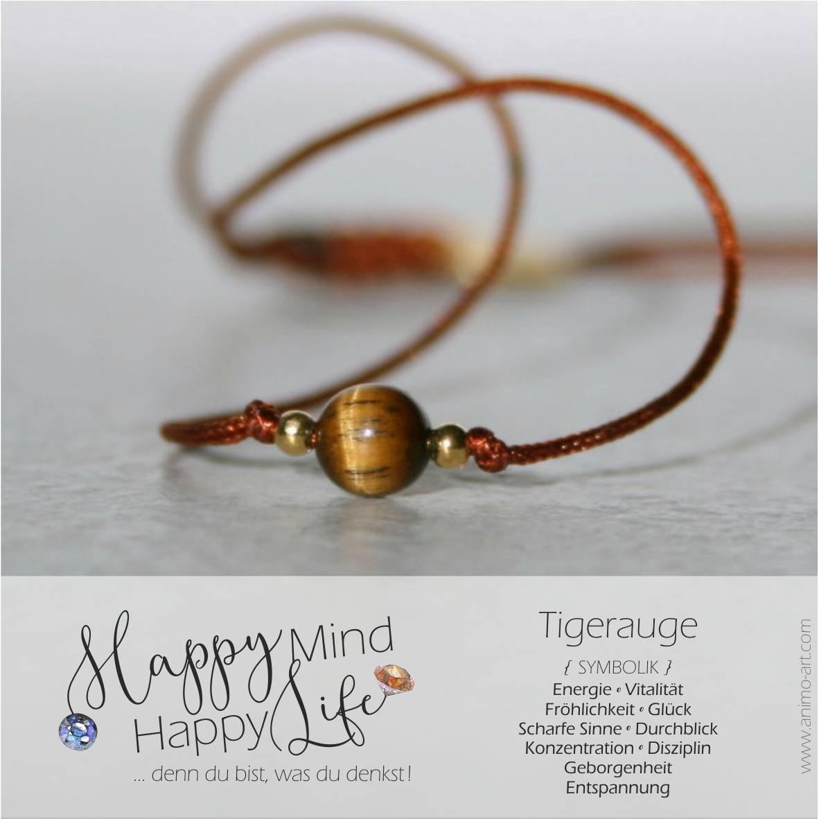 Armband mit Tigerauge-Bedeutung, Perle in braun, Happy Mind Happy Life