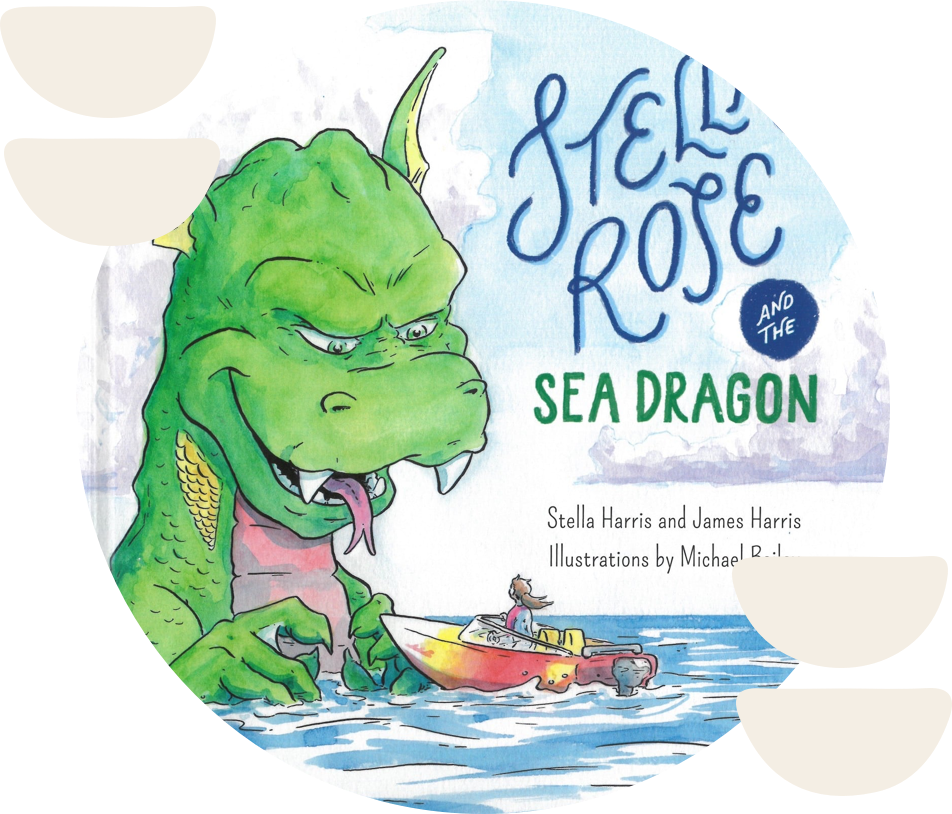 circle image of stella rose and the sea dragon cover art, featuring a large green sea dragon and a girl on a boat. image is surrounded by abstract white shapes