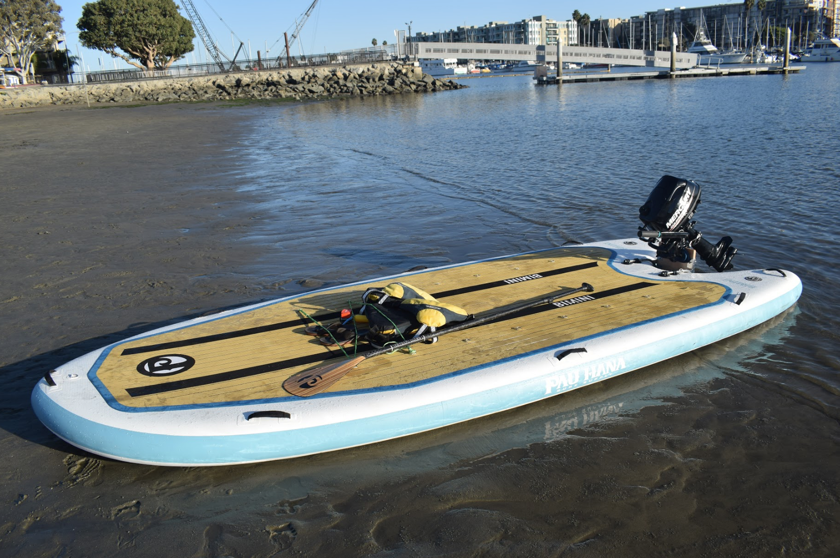 This is the best skiff board. bimini inflatable skiff replacement sup with motor capabilities