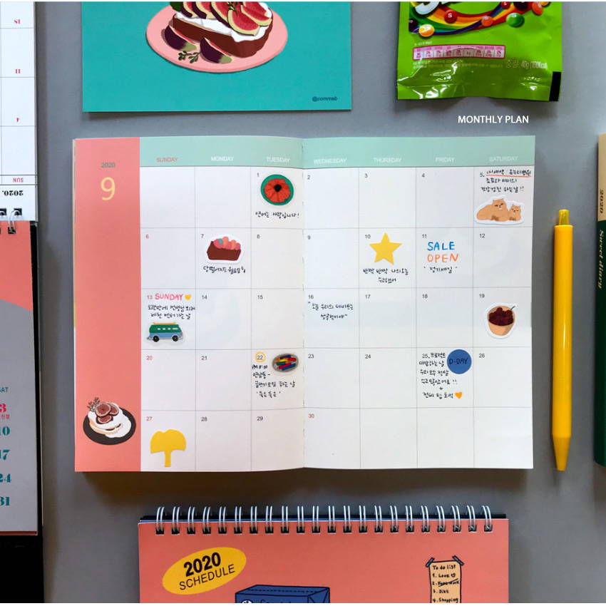 Monthly plan - Design Comma-B 2020 Sweet dessert dated weekly diary planner