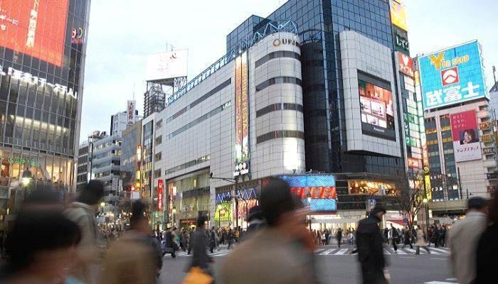 Busy city street in Japan