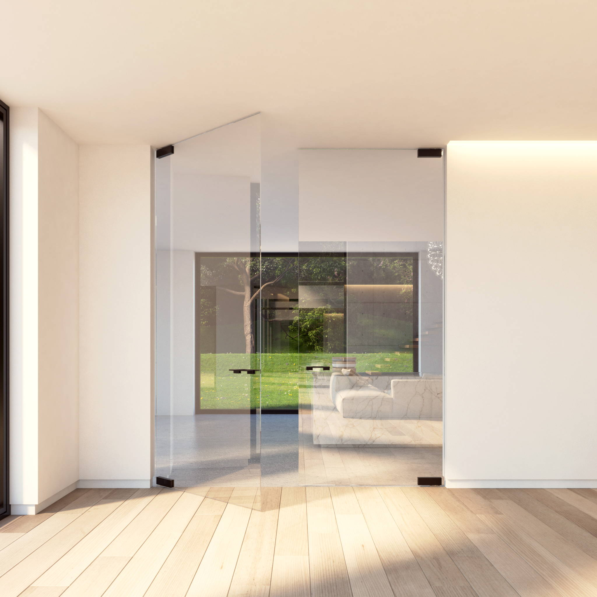 Double glass door with pivot hinge