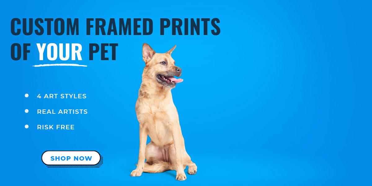 Custom dog art on modern framed print banner