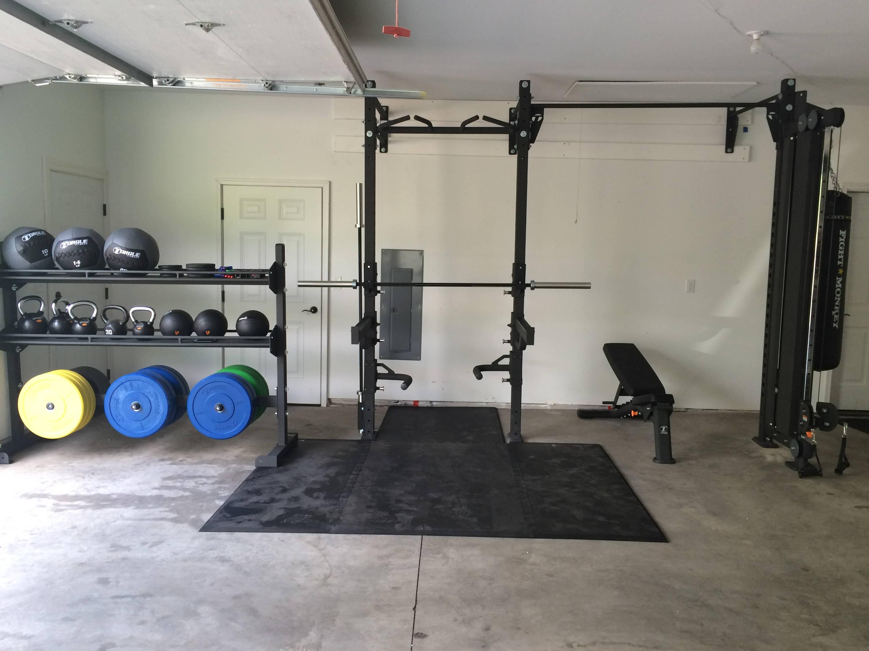 Torque Fitness squat rack in garage
