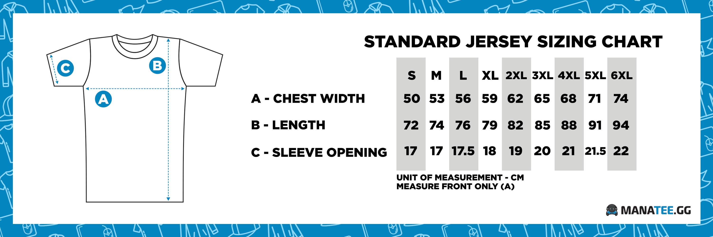 Manatee.GG Esports Jersey Gaming Size Chart