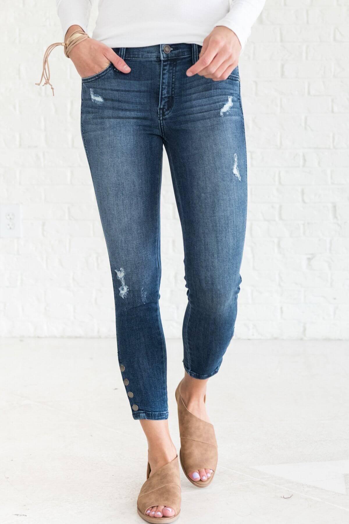 Dark Wash Distressed Button Detail Boutique Denim Skinny Jeans