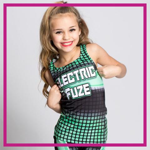 glitterstarz custom dye sub practice wear electric fuze tank and shorts for cheerleading dance