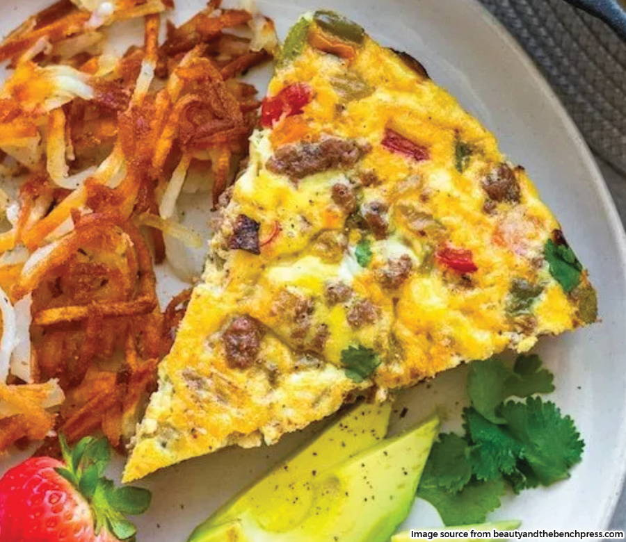 slice of frittata plated from beauty and the bench press