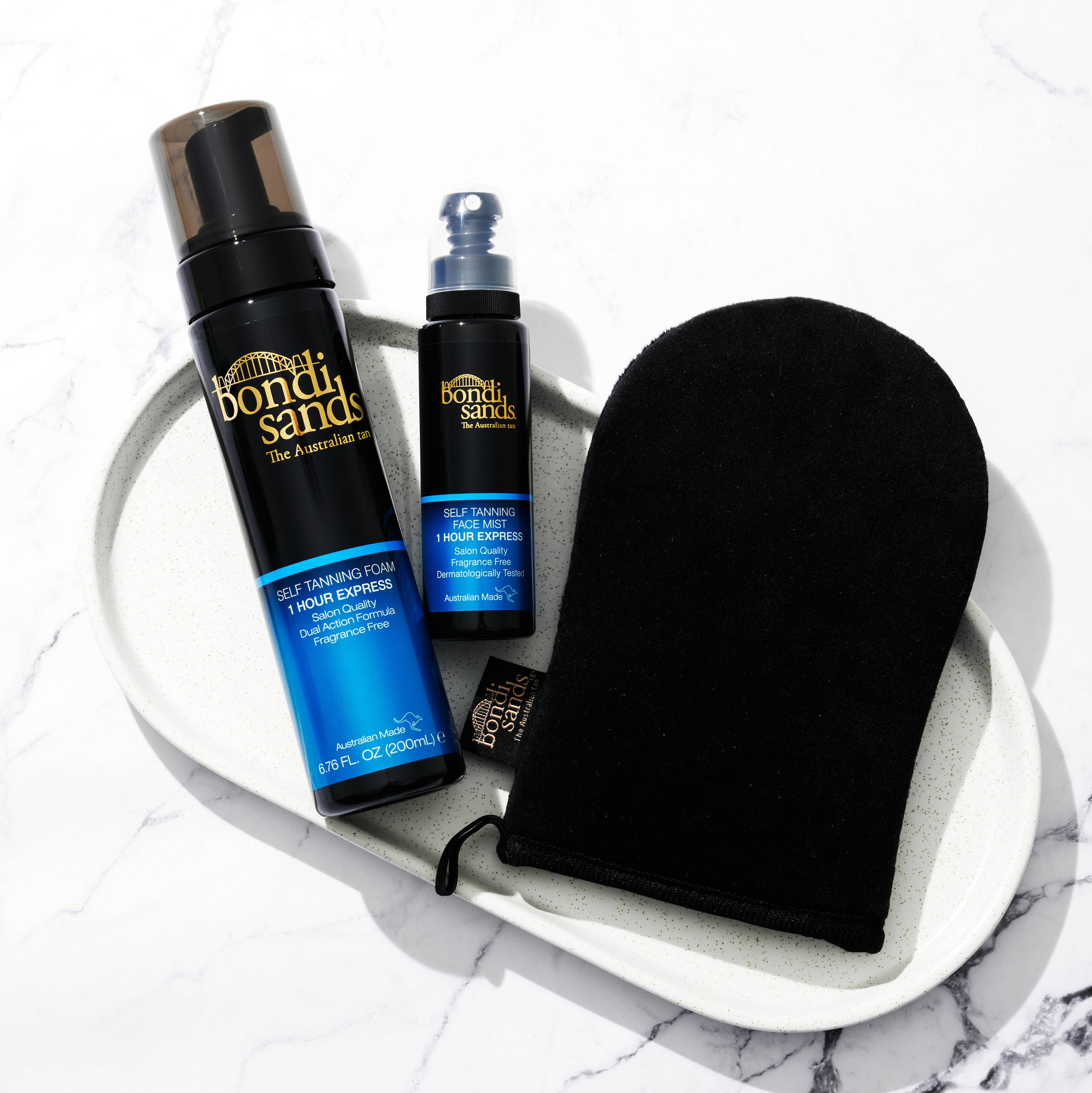 1 hour express self tanning foam and mist packaging with application mitt.