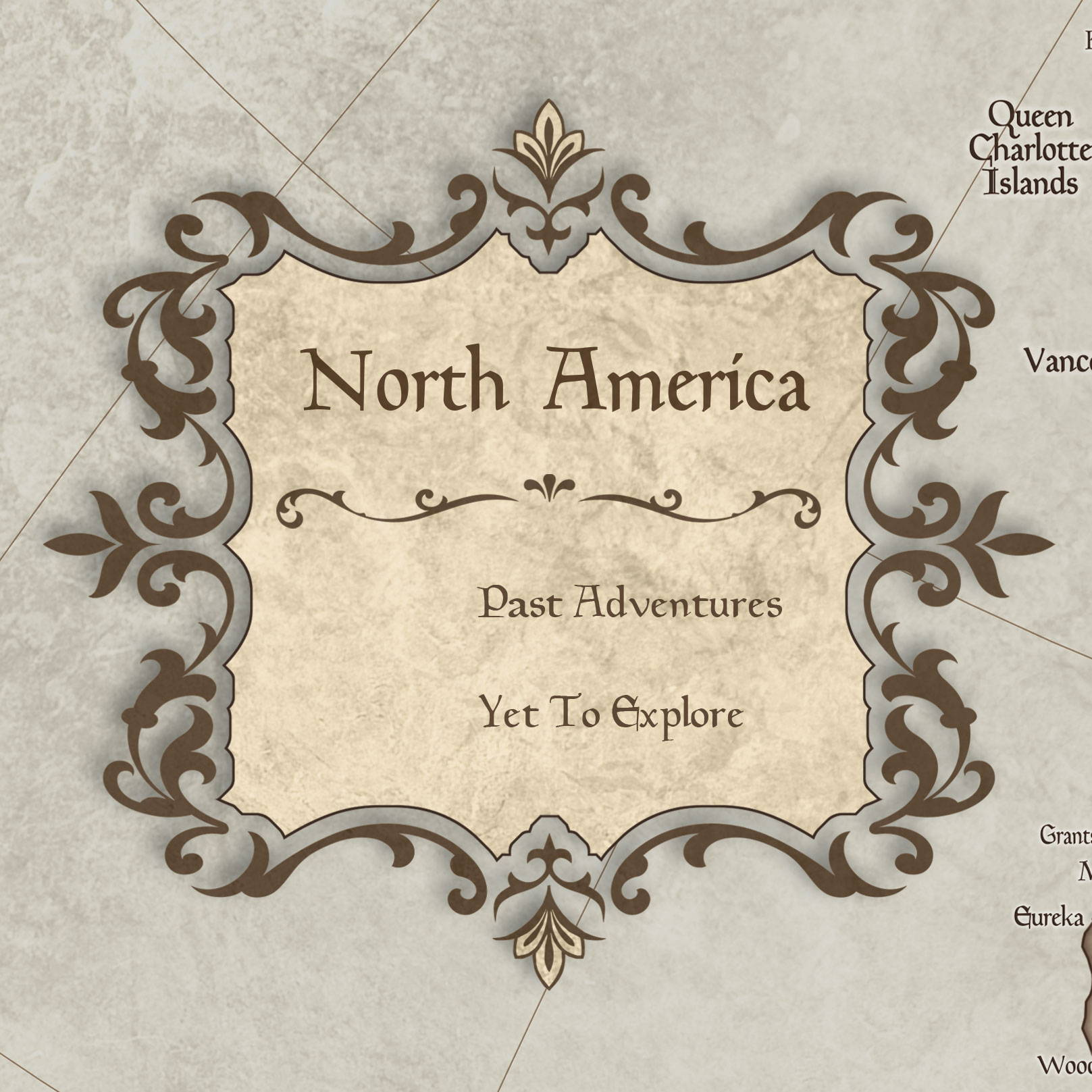 Conquest Maps Rustic Vintage North America Legend