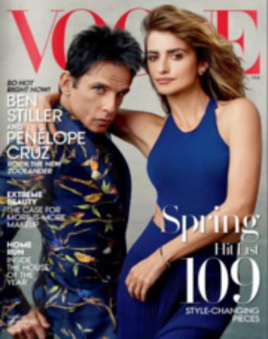 Vogue magazine cover with Ben Stiller and Penelope Cruz