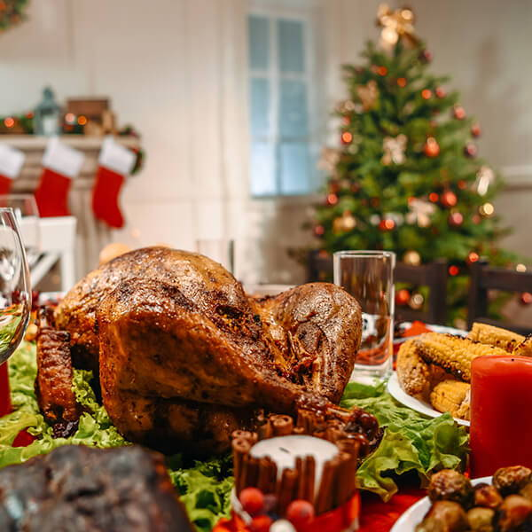 High Quality Organics Express Turkey in front of Christmas tree