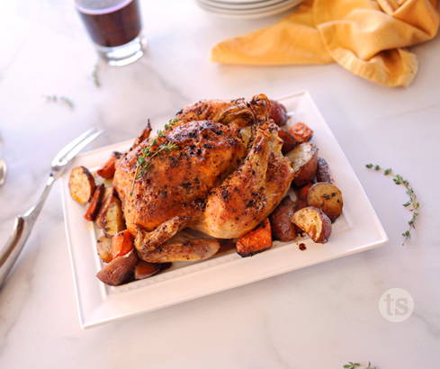 seasoned roast chicken & veggies