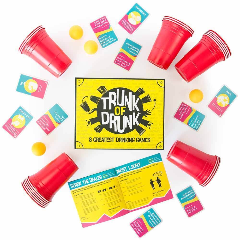 Trunk of Drunk drinking games box contents