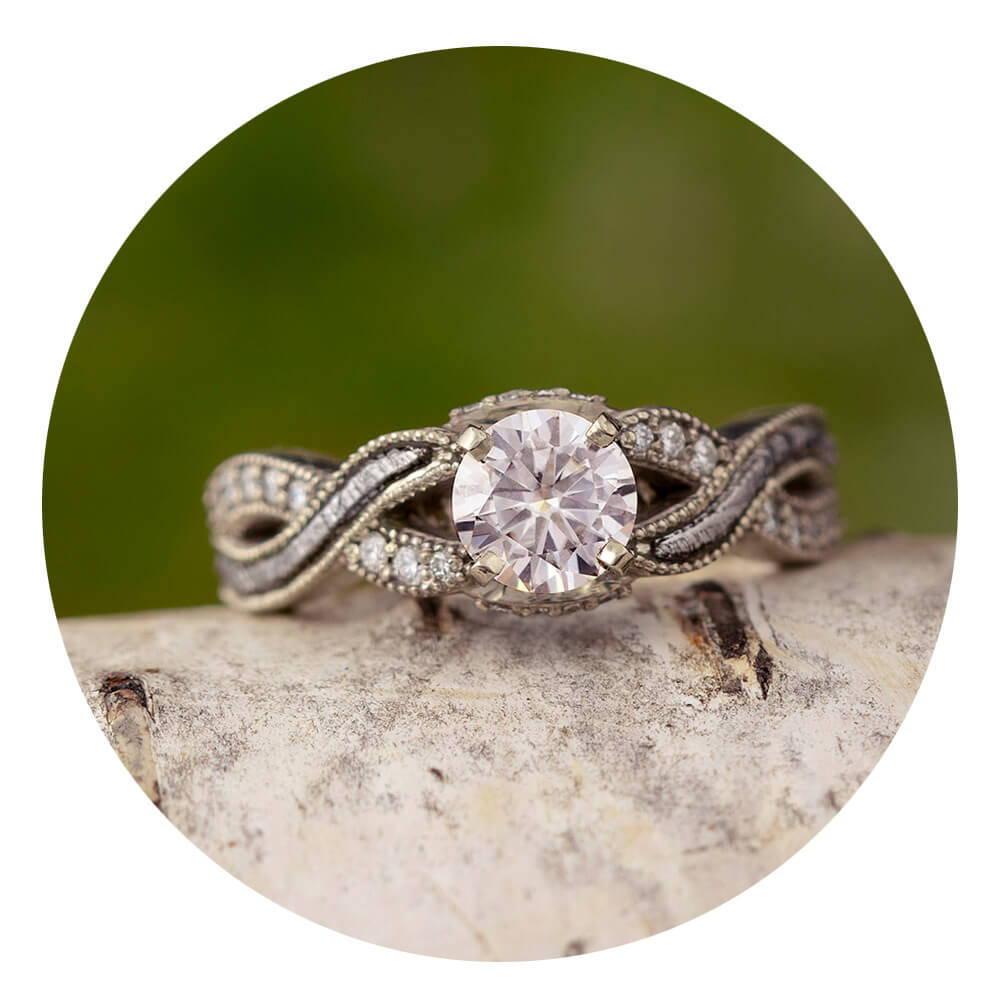 Diamond Meteorite Engagement Ring