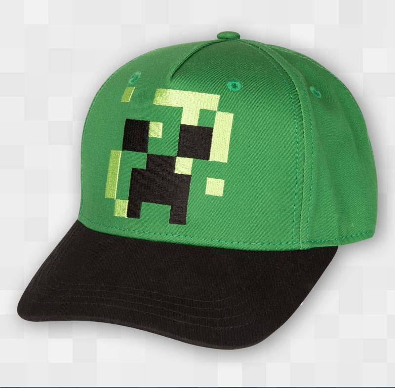 Product image of the Minecraft Pixel Creeper Youth Snap Back Hat