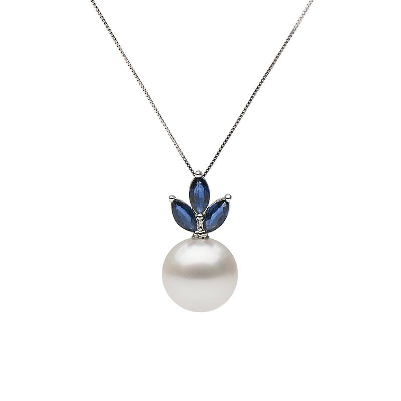 Custom Design Pearl Jewelry - Pearl and Sapphire Blue Moon Pendant