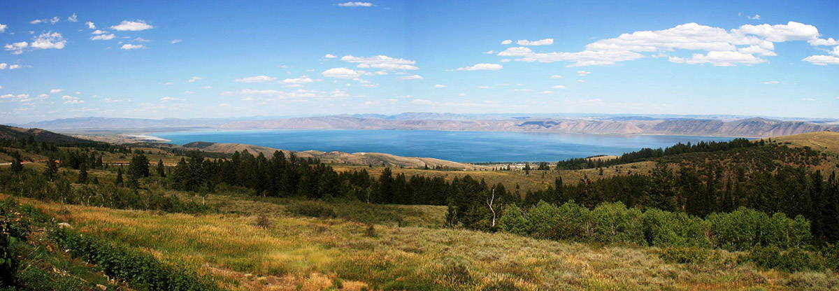 Bear Lake Lake's crystal, turquoise blue waters stretch  20 miles in length and 8 miles in width