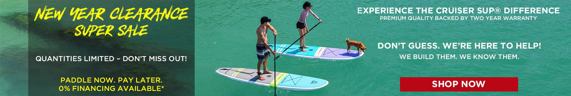 couple paddle boarding with cute dog
