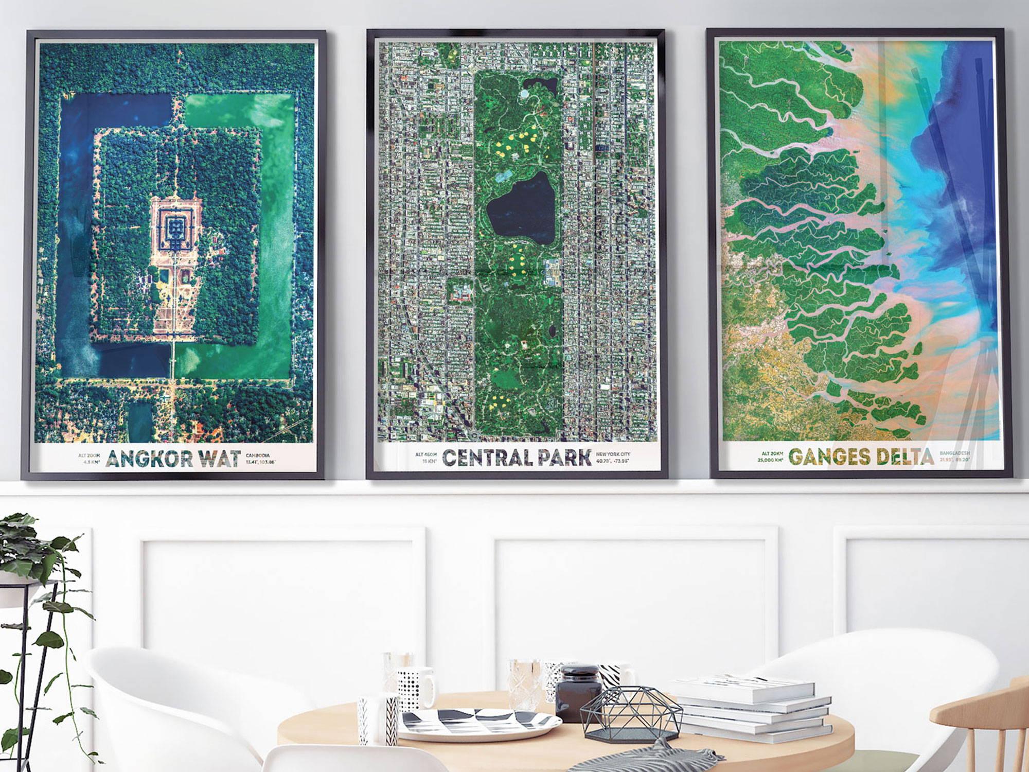 satellite images of earth - angkor wat, central park, ganges