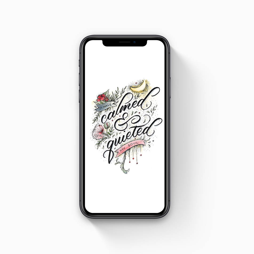 Handlettered bible quote with flower illustration