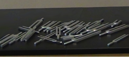 Tuning forks come in a wide variety of frequencies.