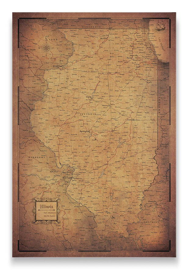 Illinois Push pin travel map golden aged