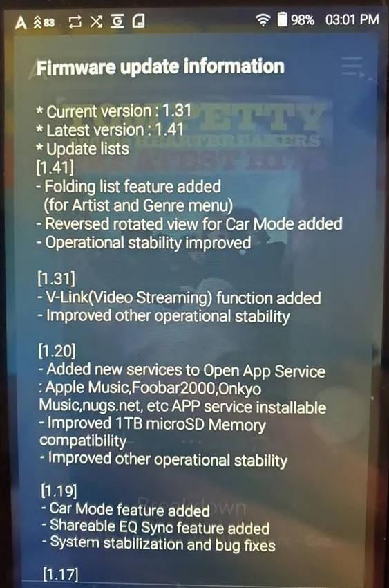 Firmware update screen for AnK DAP