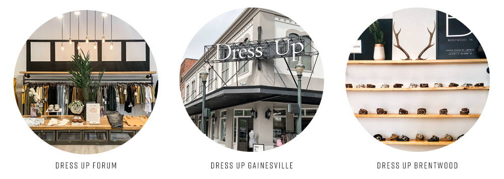 Rack of clothes at Dress Up Forum, storefront of Dress Up Gainesville, accessory shelf at Dress Up Brentwood