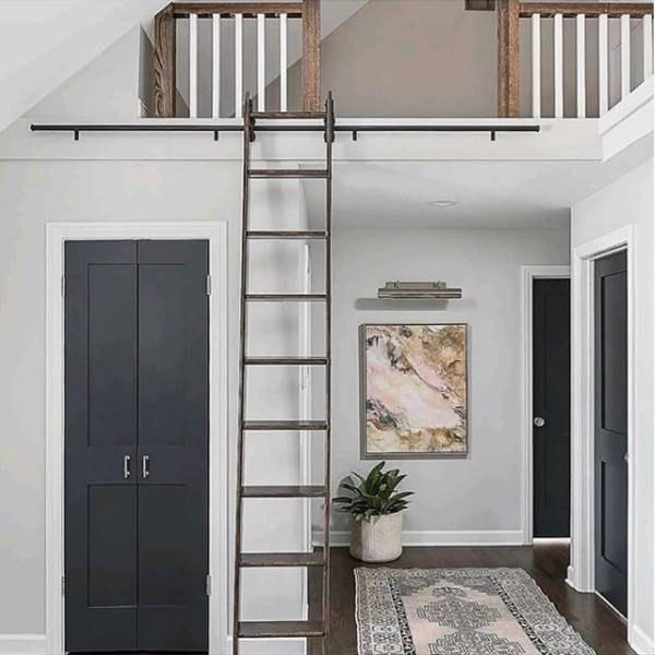 Loft ladder with rollers