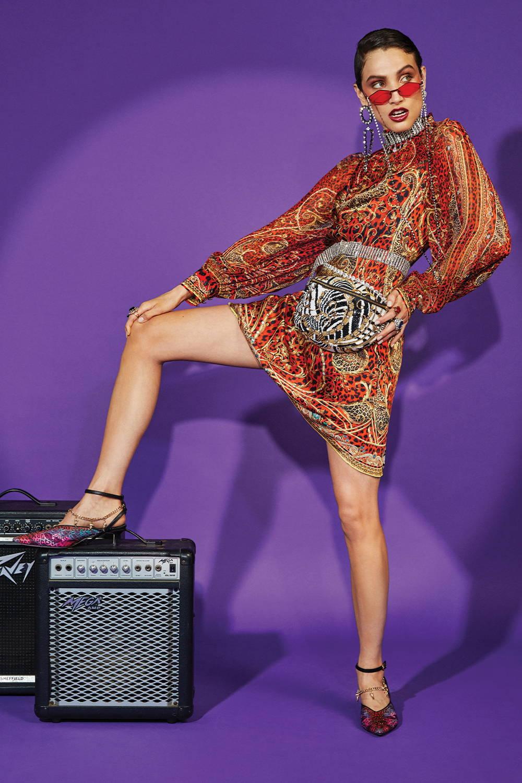 Woman wearing CAMILLA Raglan button up shirt slave to the rhythm