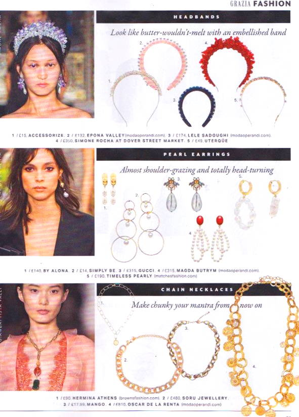 SORU JEWELLERY MONDELLO NECKLACE IN GRAZIA MAGAZINE