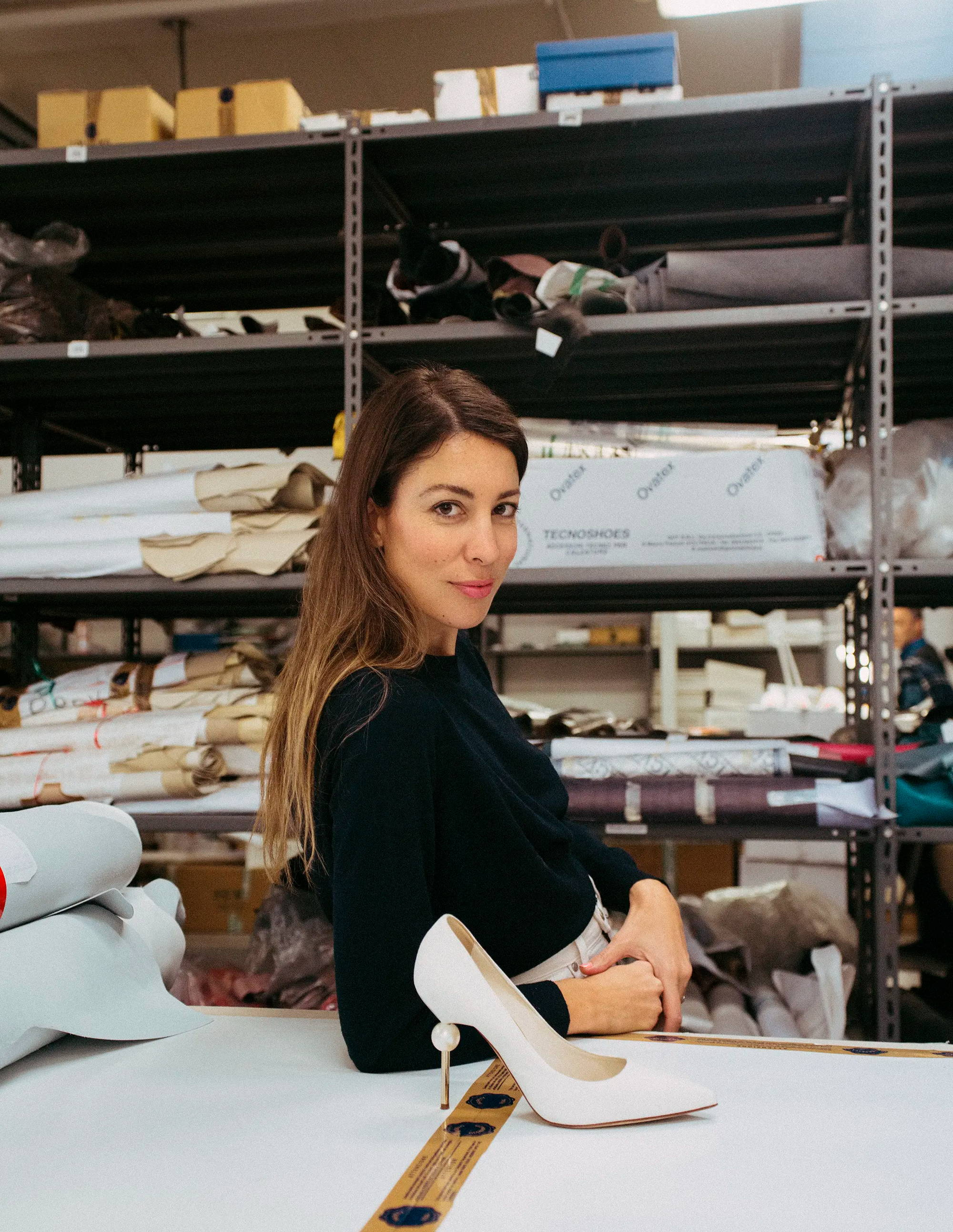 Camilla Gabrieli designer at shoe factory Italy
