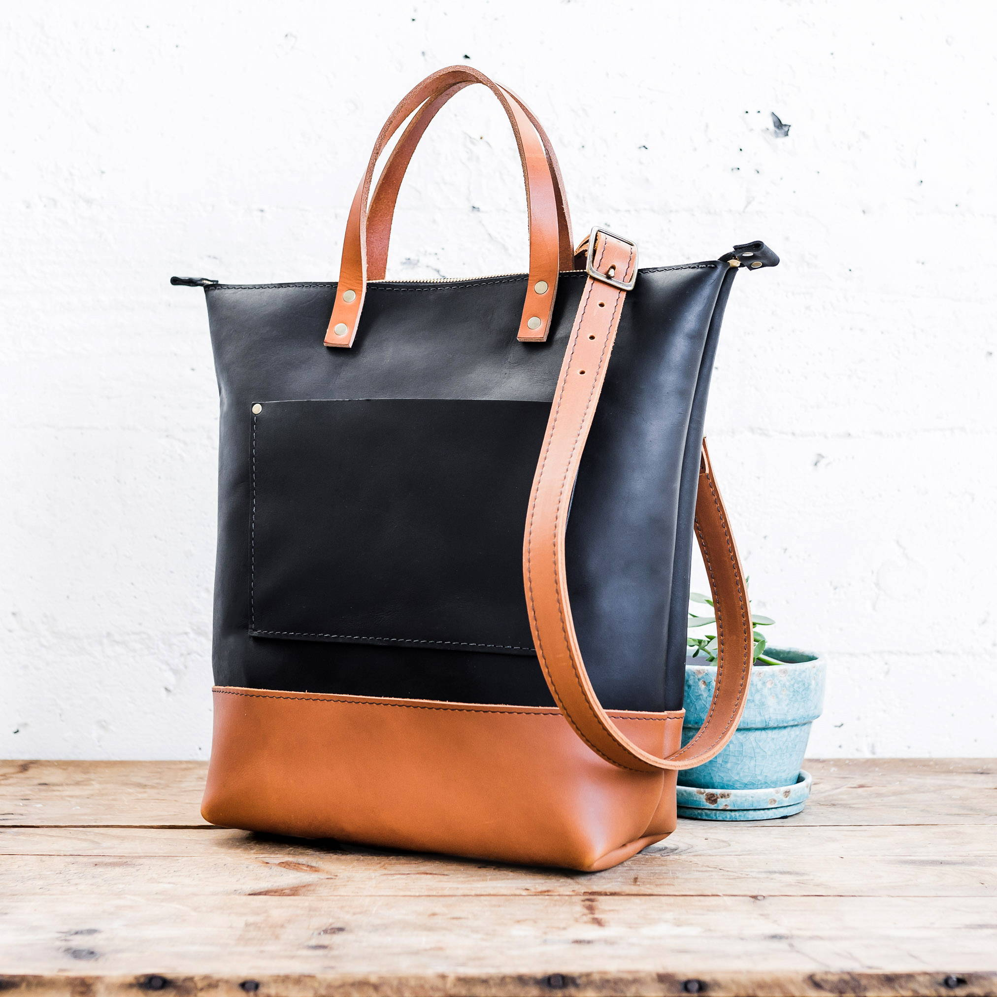 Black and Saddle Zipper Tall Tote with Tan Handles