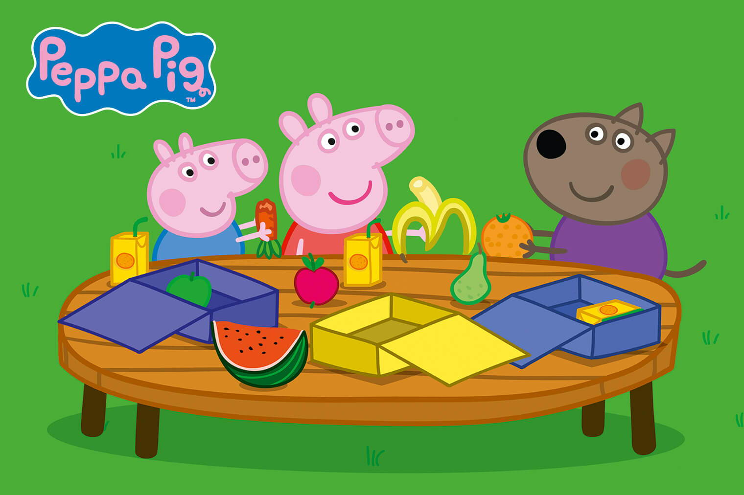 Picture Of Peppa Pig And Friends Sitting At A Table
