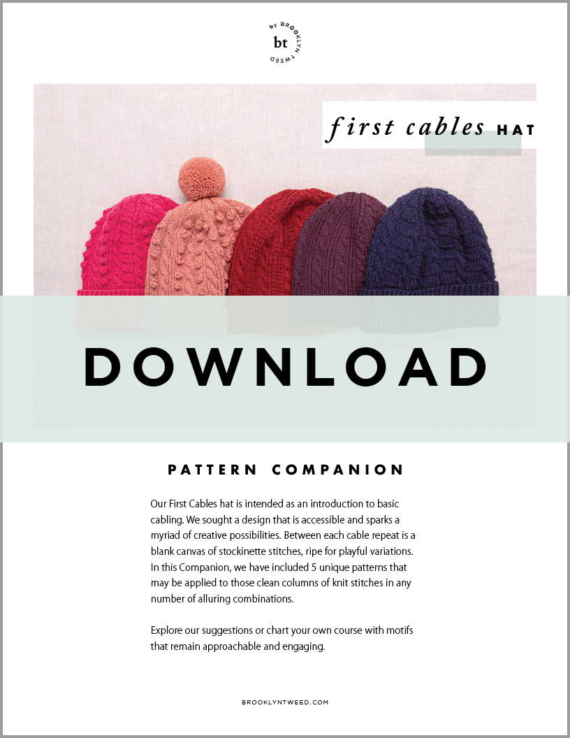BT by Brooklyn Tweed First Cables Hat Companion