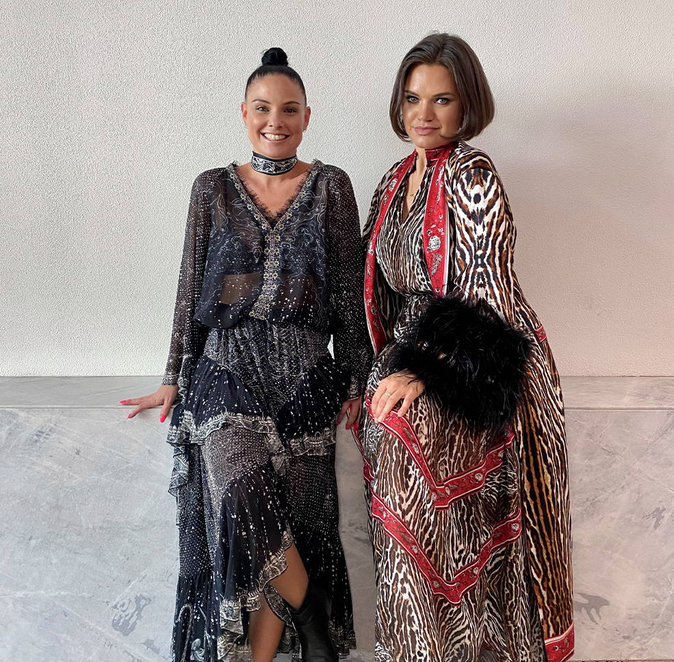 CAMILLA In-House Stylists wearing black and silver embellished blouse and skirt, red and leopard silk robe, blouse and skirt.