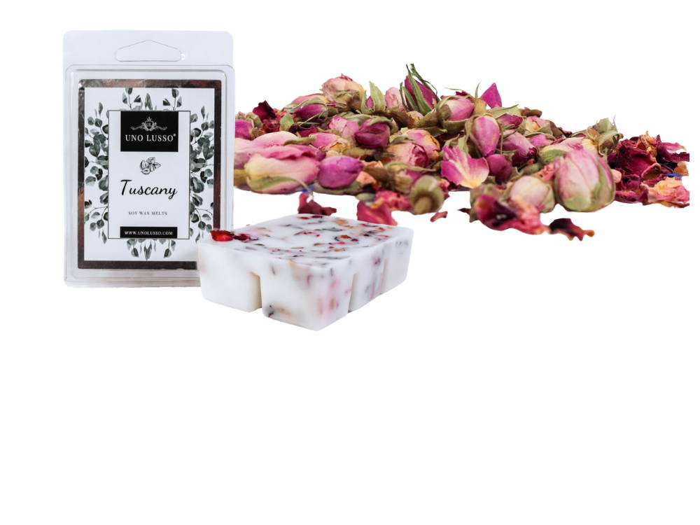 Luxury soy wax melts embedded with pink rose petal and italian herbs