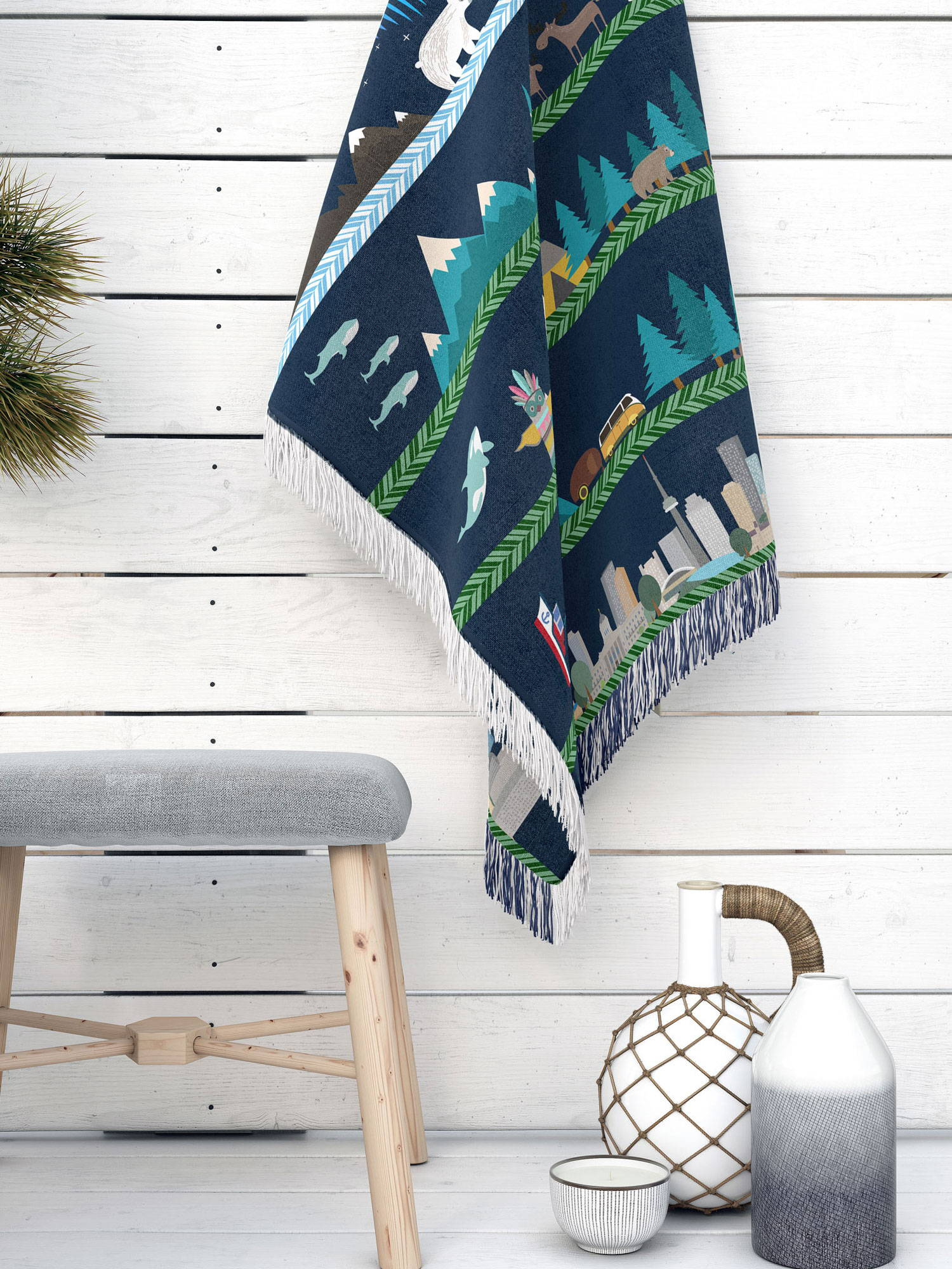 vector illustrated artwork of Canada from north to south as a cotton woven blanket