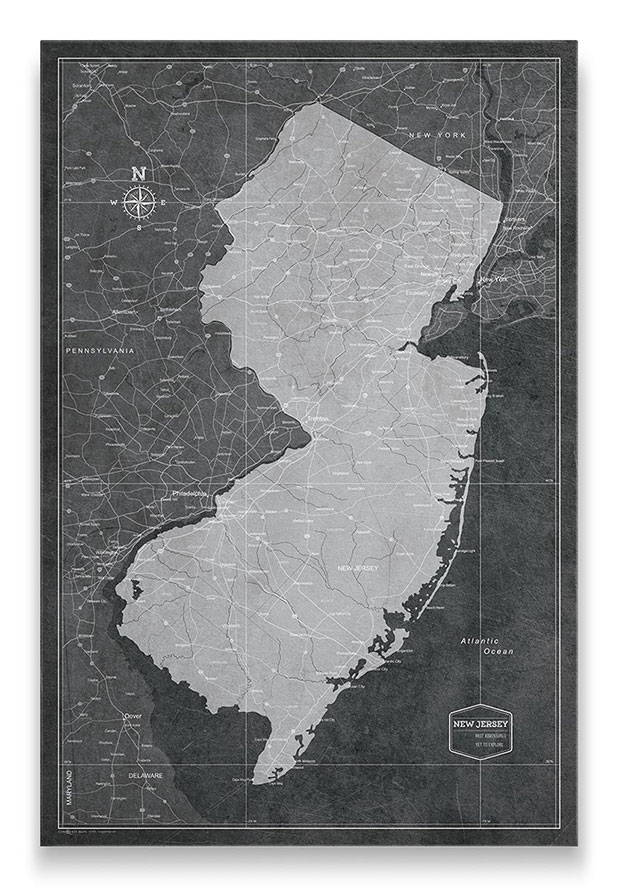 New Jersey Push pin travel map modern slate