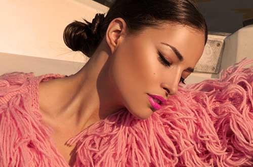 Plum & York Brazilian Carnaval bright pink lipstick