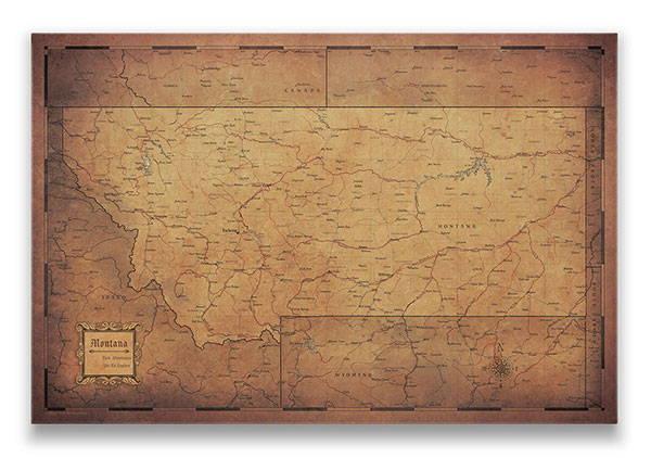 Montana Push pin travel map golden aged