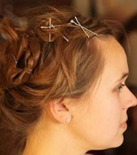 Woman with bobby pins
