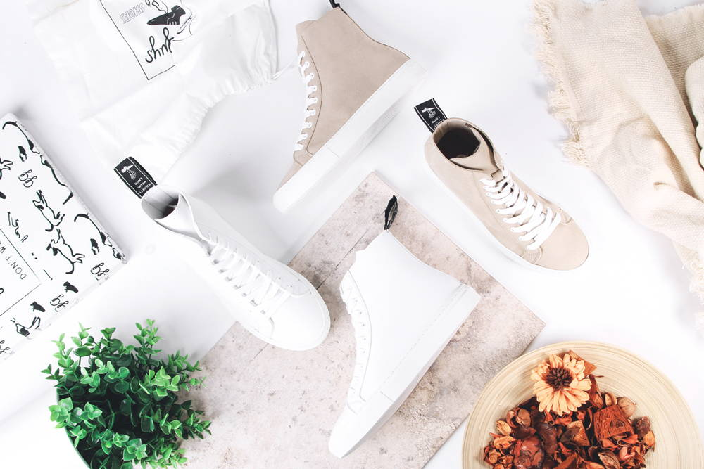 High top Vegan leather trainers in white  and beige