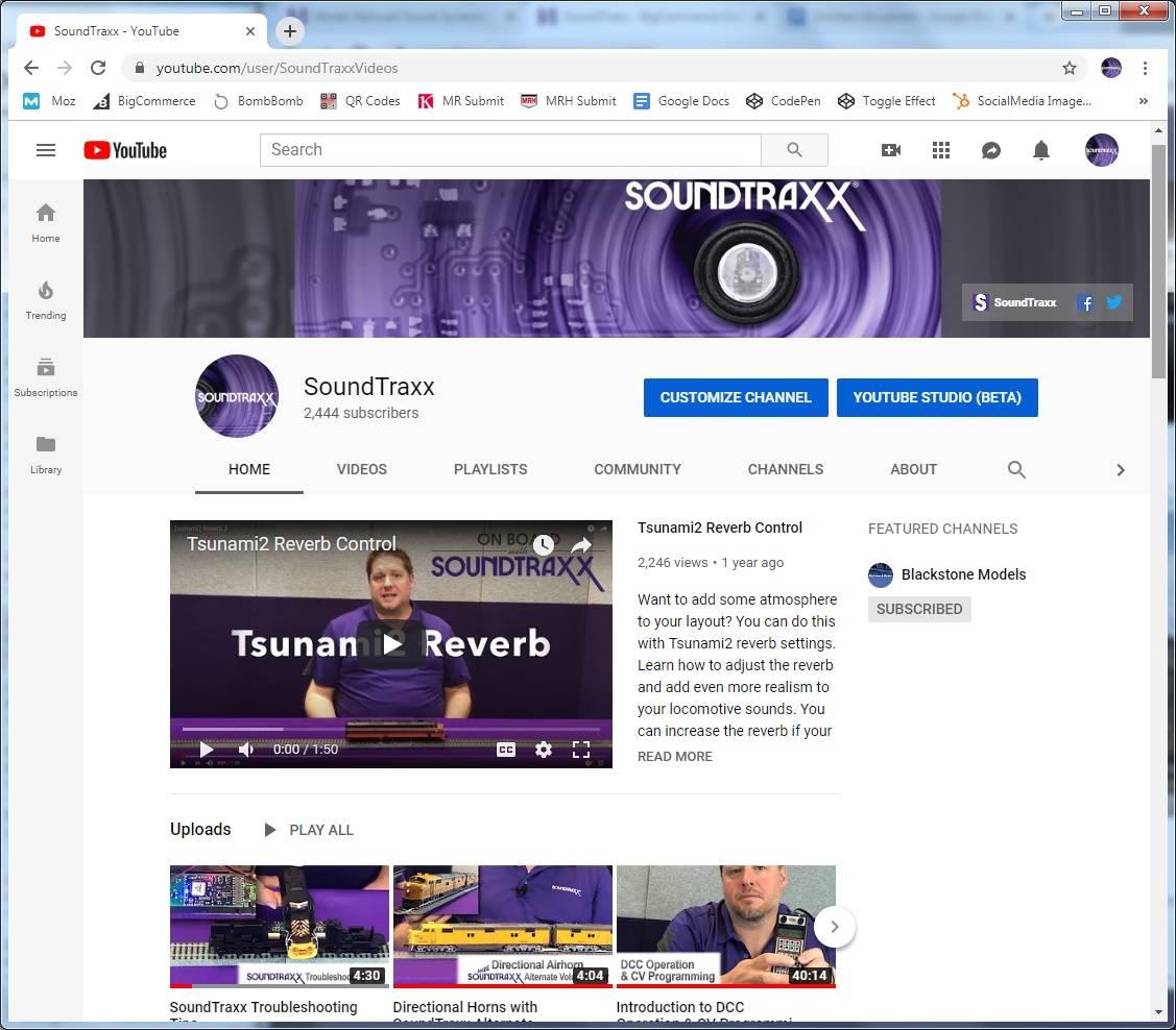 SoundTraxx YouTube Page: https://www.youtube.com/user/SoundTraxxVideos